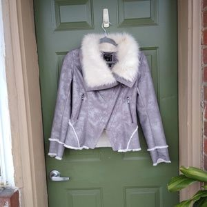 Faux Fur Lined Jacket Suede Motorcycle High Neck